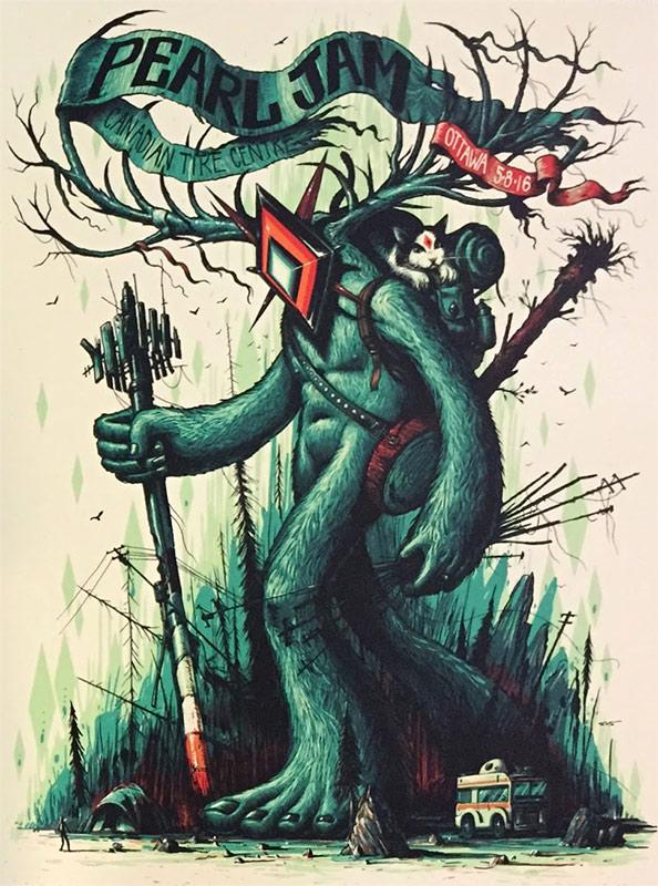 Jeff Soto Pearl Jam Ottawa Poster 2016
