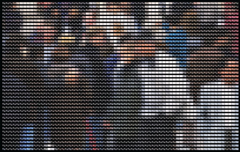 Scotiabank pixel art with credit cards crowd on the street